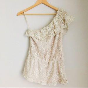 $4 W/ BUNDLE Rue 21 Cream Lace One Shoulder Top